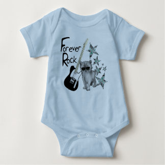 "Bodystocking blue baby ""Forever Rock'n'roll"", cat, Baby Bodysuit"