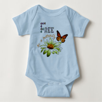 """Bodystocking blue baby, """"Free ace has butterfly"""", Baby Bodysuit"""