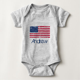 Bodystocking in jersey for baby, Flag the USA Baby Bodysuit