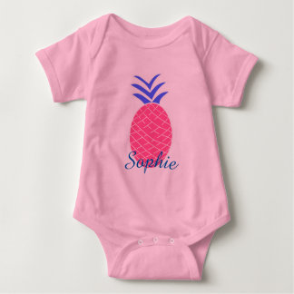 Bodystocking in jersey for baby, Pineapple Baby Bodysuit