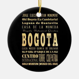 Bogota City of Colombia Typography Art Ceramic Ornament