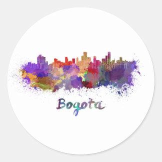 Bogota skyline in watercolor classic round sticker
