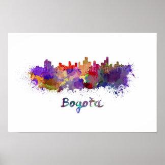 Bogota skyline in watercolor poster
