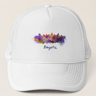 Bogota skyline in watercolor trucker hat