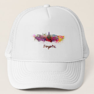 Bogota v2 skyline in watercolor trucker hat