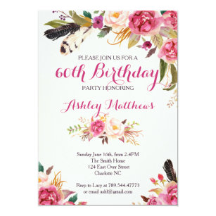 Flower birthday invitations announcements zazzle bohemain floral birthday invitation filmwisefo