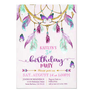Bohemian American Indian Dream Catcher Birthday Card