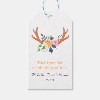 Bohemian Antlers Watercolor Flowers Thank You Gift Tags