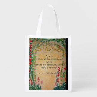 bohemian arch reusable grocery bag