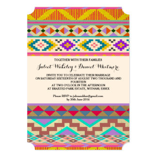 Bohemian Aztec Ikat Wedding Invitation