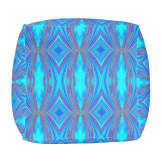 Bohemian Blue and Red Pouf
