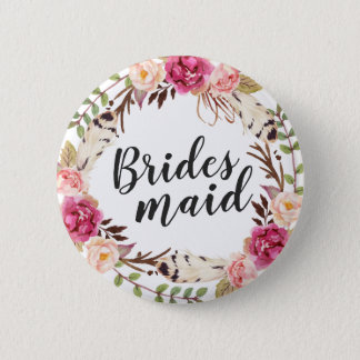 Bohemian Boho Floral Wreath Calligraphy Bridesmaid 6 Cm Round Badge