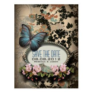 Bohemian Botanical butterfly Paris bridal shower Postcard