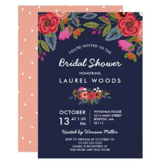 Bohemian Bouquet - Navy Blue Bridal Shower Card
