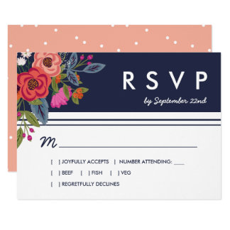 Bohemian Bouquet - Navy Blue & Coral Wedding RSVP Card