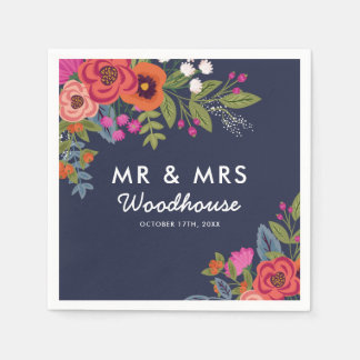 Bohemian Bouquet - Navy Blue Mr & Mrs Wedding Paper Napkin