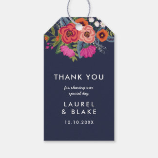 Bohemian Bouquet - Navy Blue - Thank You Gift Tags