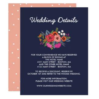 Bohemian Bouquet - Navy Blue Wedding Details Card