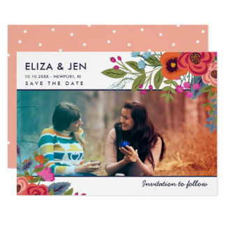 Bohemian Bouquet Photo Save the Date Card