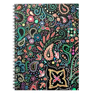 bohemian chalkboard paisley doodle spiral notebook