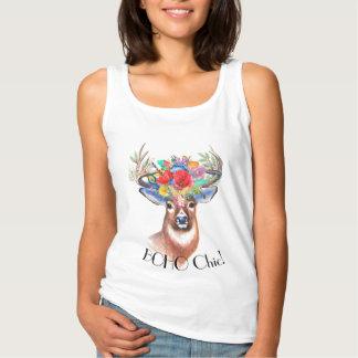 Bohemian chic deer floral crown singlet