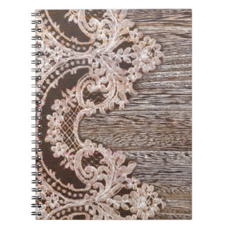 bohemian chic western country wood floral lace notebook