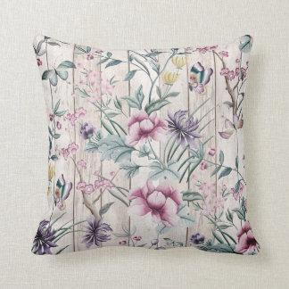 Bohemian Chinoiserie Tropical Teal Butterfly Wood Cushion
