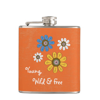 """Bohemian Colorful Flowers """"Young, Wild & Free"""" Hip Flask"""