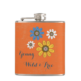 "Bohemian Colorful Flowers ""Young, Wild & Free"" Hip Flask"