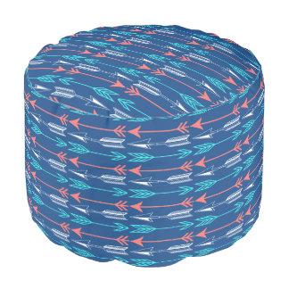 Bohemian Coral & Teal Arrows Custom Round Pouf