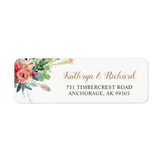 Bohemian Country Flowers Arrow Wedding Address Return Address Label