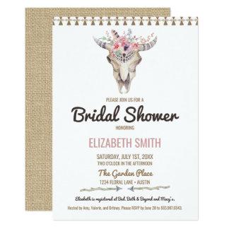 Bohemian Cow Skull Floral Bridal Shower Invitation