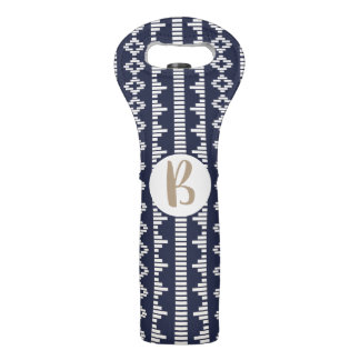Bohemian Cream Geometric & Navy with Monogram Wine Bag