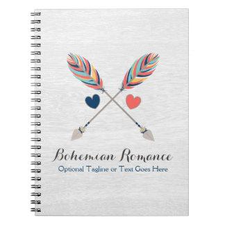 Bohemian Crossed Arrows On Rustic Wood Boho Chic Notebooks