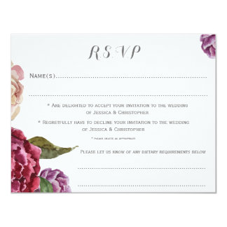 Bohemian Dark Floral Customised Wedding RSVP Card
