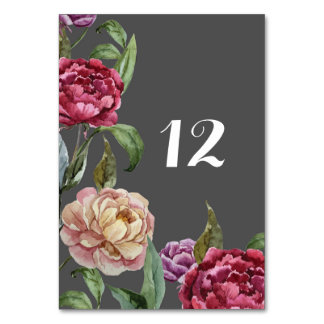 Bohemian Dark Floral Wedding Table Name or Number Table Card