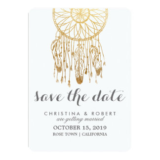 Bohemian Dreamcatcher Faux Gold Foil Save The Date Card