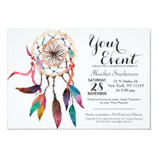 Bohemian Dreamcatcher in Vibrant Watercolor Paint 9 Cm X 13 Cm Invitation Card