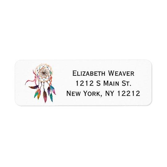 Bohemian Dreamcatcher in Vibrant Watercolor Paint Return Address Label