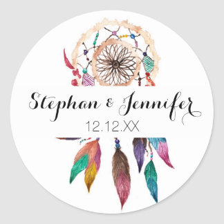 Bohemian Dreamcatcher in Vibrant Watercolor Paint Round Sticker