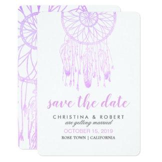 Bohemian Dreamcatcher Lavender Save The Date Card