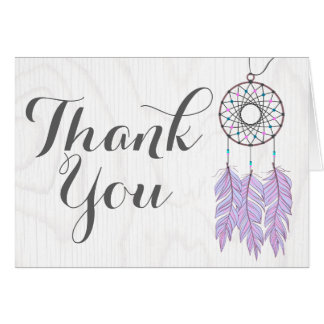 Bohemian Dreamcatcher Rustic Thank You Card