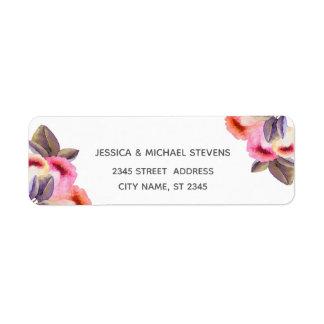 Bohemian elegant modern watercolor tulips return address label