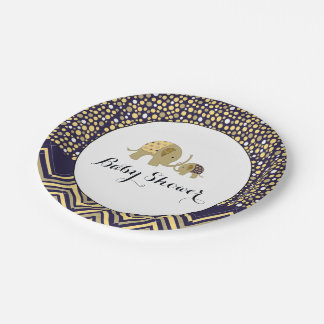 Bohemian Elephant and Chevron Baby Shower Paper Plate