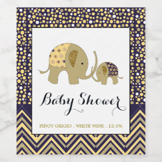 Bohemian Elephant and Chevron Baby Shower Wine Label