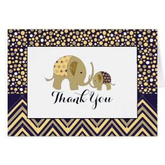 Bohemian Elephant & Chevron Baby Shower Thank You Card