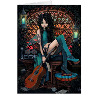 Bohemian Fairy Song Writer Peacock Chair Aria Card