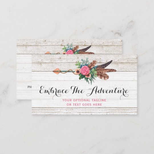 Bohemian feather arrow rose on rustic white wood business card bohemian feather arrow rose on rustic white wood business card reheart Image collections