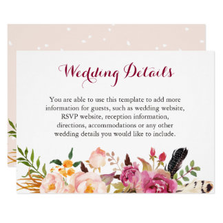 Bohemian Feather Floral Boho Wedding Details Info Card