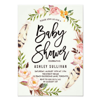 Bohemian Feathers and Floral Wreath Baby Shower 13 Cm X 18 Cm Invitation Card